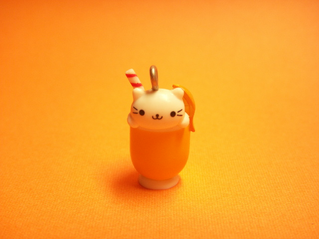 Photo1: Kawaii Cute Nyan Nyan Nyanko Charm *Orange Juice