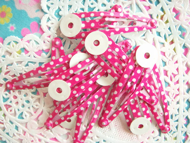 Photo1: Kawaii Cute Accessories Snap Hair Clip Craft Polka Dot Pink Japan