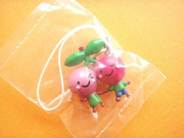 Photo1: Kawaii Cute Puccho Candy Character Strap Charm Cherry