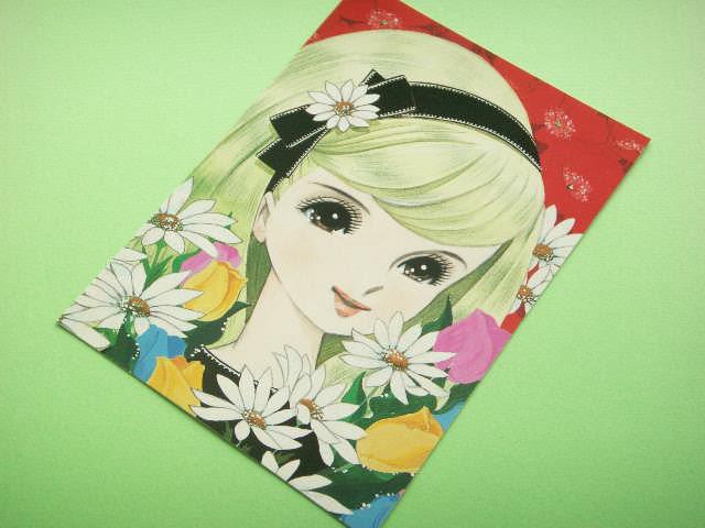 Photo1: Japanese Retro Illustration Postcard Cute Girl Miyako *15