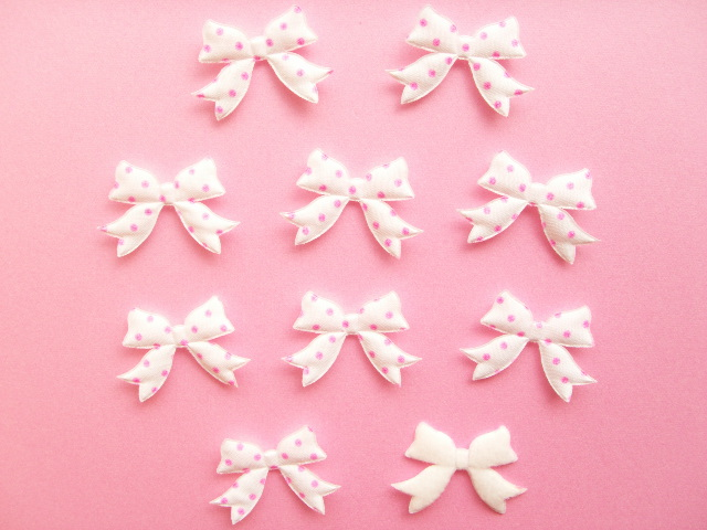 Photo1: 10 pcs Kawaii Cute Craft Supplies Padded Ribbon Bow Applique Polka Dots White