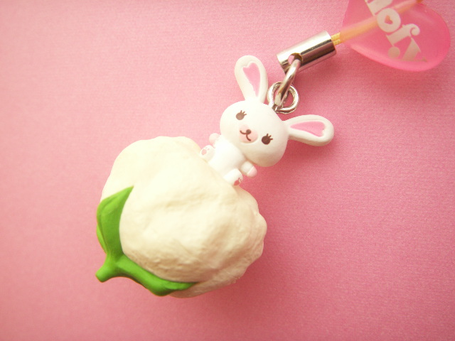 Photo1: Kawaii Cute Bunny Character Mofy Strap Charm Flower