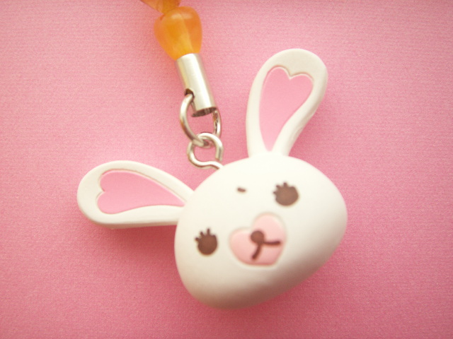Photo1: Kawaii Cute Bunny Character Mofy Strap Charm Orange Heart