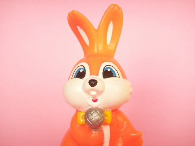 Photo1: Kawaii Bunny Mini Rubber Doll Toy Microphone Orange Novelty