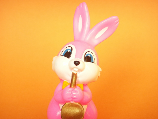 Photo1: Kawaii Bunny Mini Rubber Doll Toy Saxophone Pink Novelty