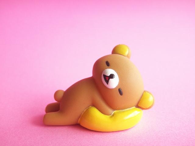 Photo1: Kawaii Cute Rilakkuma Small Rubber Doll Mascot *Sleeping with Cushion