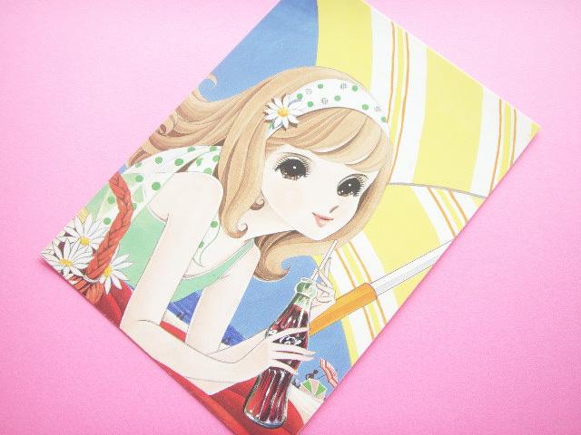 Photo1: Japanese Retro Illustration Postcard Cute Girl Miyako *04