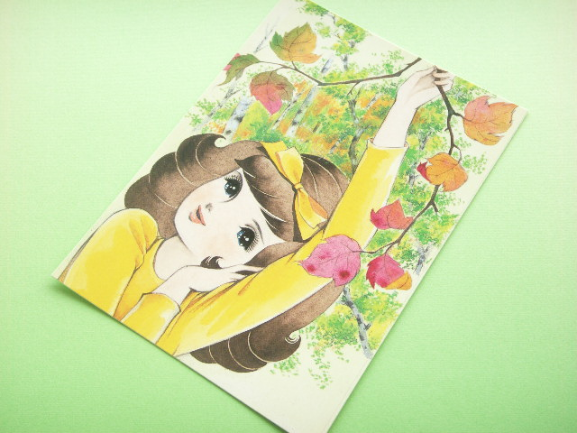 Photo1: Japanese Retro Illustration Postcard Cute Girl Miyako *29