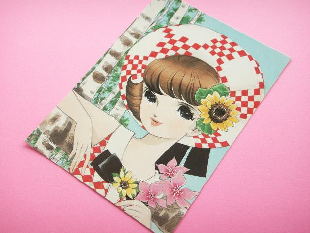 Photo1: Japanese Retro Illustration Postcard Cute Girl Miyako *13