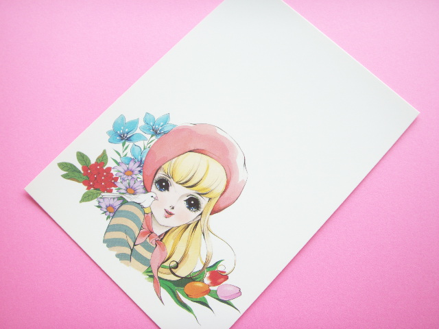 Photo1: Japanese Retro Illustration Postcard Cute Girl Miyako *05