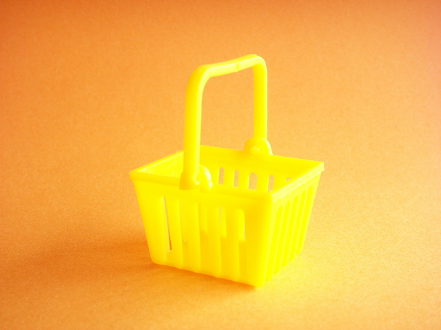 Photo1: Miniature Plastic Basket Toy Yellow