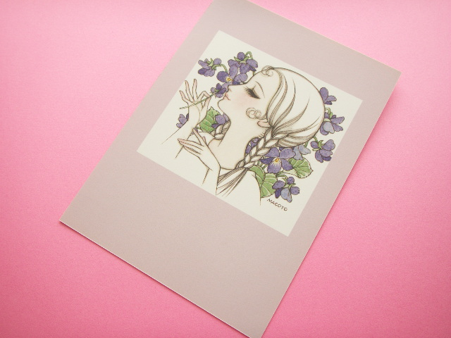 Photo1: Macoto Japanese Retro Illustration Postcard Cute Girls *04