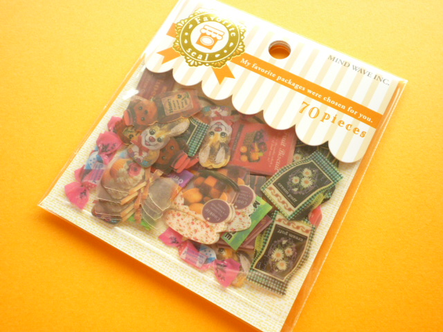 Photo1: Kawaii Cute Favorite Packages Sticker Flakes Sack Mind Wave (73911)