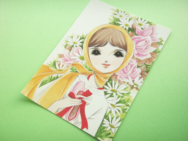 Photo1: Japanese Retro Illustration Postcard Cute Girl Miyako *20
